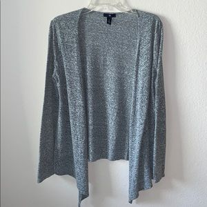 Gray speckled flyaway cardigan